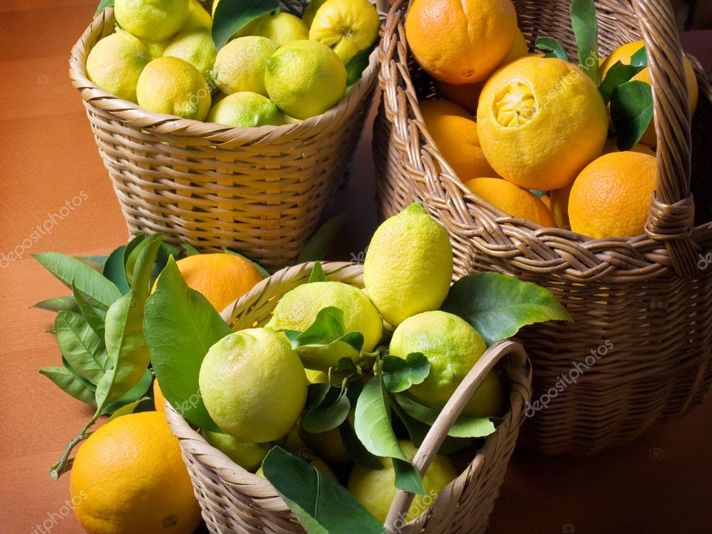 Baskets full of citrus fruits after harvest. — Stock Photo #2665048