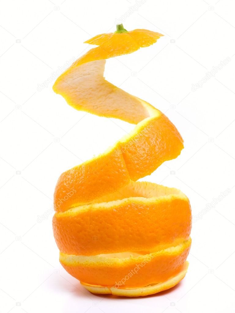 Spiral peeled bark of a ripe orange isolated on white background. — Stock Photo #2665584