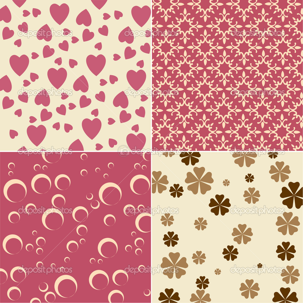 Vector illustration of cute backgrounds with hearts and flower motives — Stock Vector #1924524