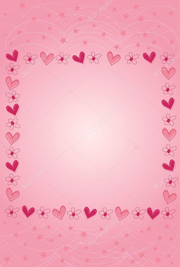 Vector illustration of Valentine card with hearts and stars  Stock Vector #2680876
