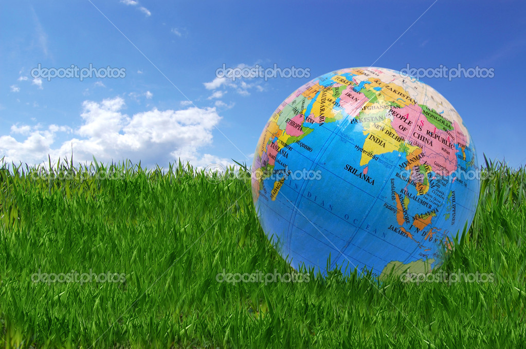 Green planet concept. globe earth on fresh grass.  — Stock Photo #2601250