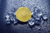 Lemon & ice cubes — Stock Photo