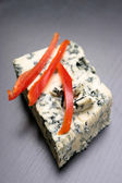 Blue cheese and red pepper — Stock Photo