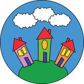 Cartoon houses — Stock Photo
