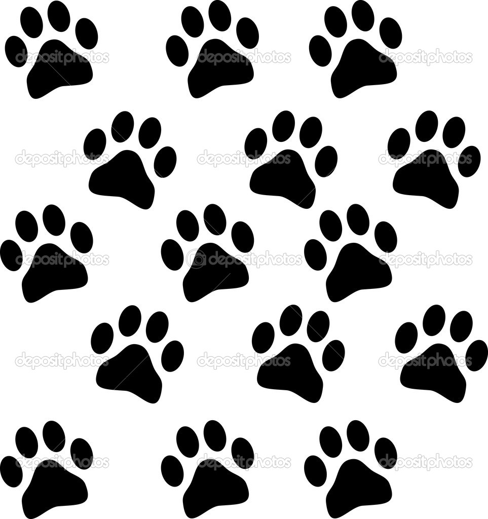 Paw prints isolated on white background — Stock Vector #2145321