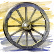 Wooden ancient cart wheel — Stock Photo