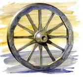 Wooden ancient cart wheel — Stock Photo