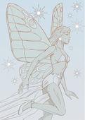 Alas de mariposa niña soñadora whith — Foto de Stock