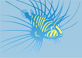 Strange blue-and-yellow fish — Stock Vector