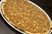 Minced lamb and Pine Kernels pizza — Stock Photo