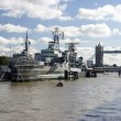 H.M.S Belfast and Tower Bridge - Stock Photo
