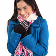 Stock Photo: Woman Wearing a Scarf and a Winter Coat