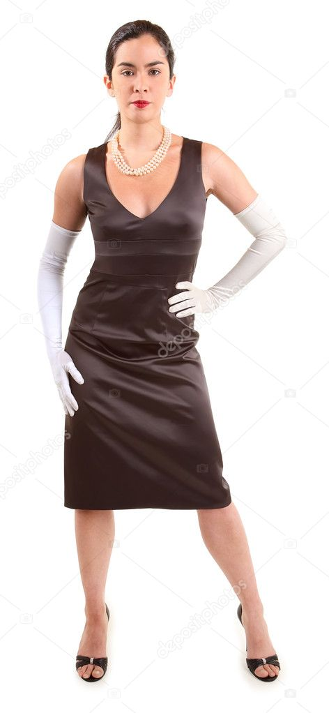 A beautiful lady in a classy dress wearing white gloves — Stock Photo #1973402