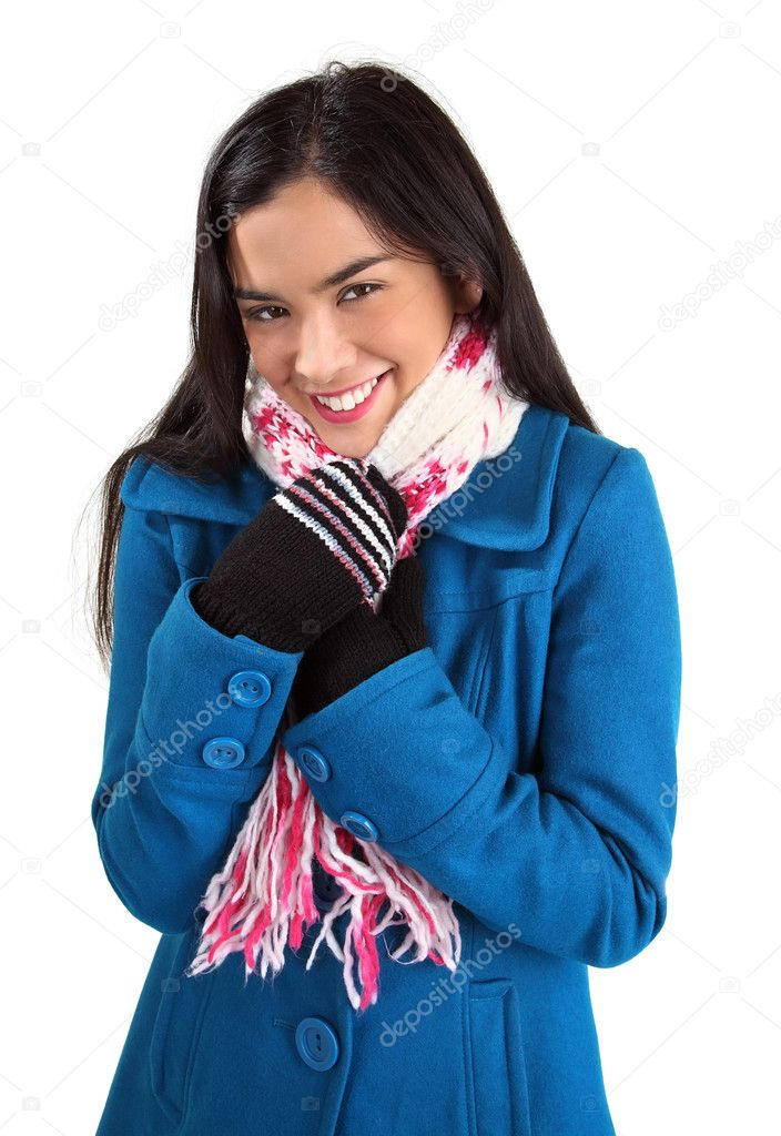 A beautiful young woman wearing a scarf and a winter coat is smiling at the camera. — Stock Photo #1973417