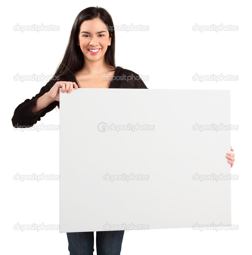 A beautiful young woman is holding a blank white sign. — Stock Photo #1973634