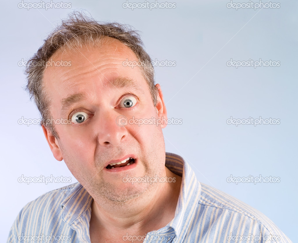 The face of a man being afraid of something. — Stock Photo #1973829