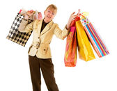 Senior Woman on a Shopping Spree — Stock Photo