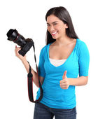 Young Lady Photographer with Thumbs Up — Stock Photo