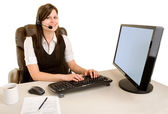 Smiling Businesswoman Wearing Headset — Stock Photo