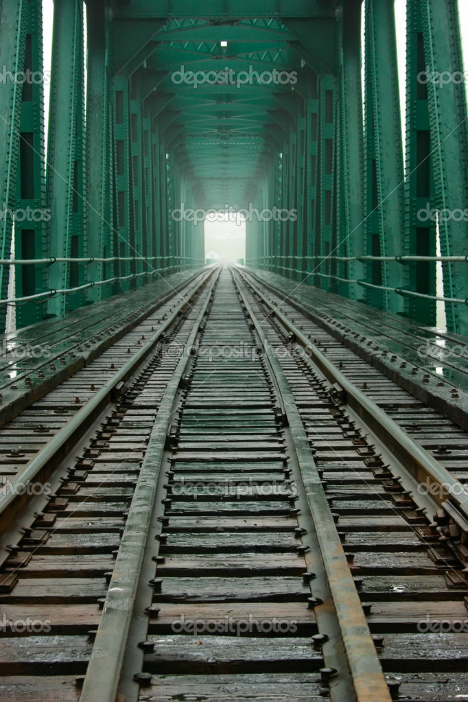 A direct centered view at the inside of a railroad bridge.  — Stock Photo #2031350