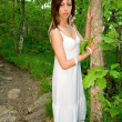 Beautiful Woman in the Forest — Stock Photo