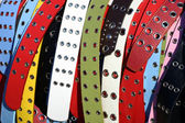 Multicolored women's belts — Stock Photo