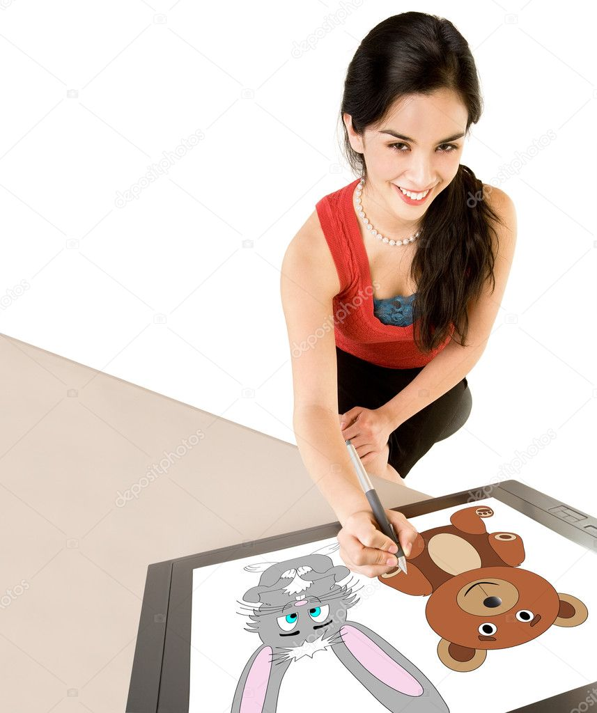 A young woman is drawing on a digital tablet. — Stock Photo #2047483