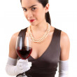 Classy Woman Holding a Glass of Red Wine — Stock Photo