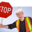 Construction Worker Asking to Stop Doing - Stock Photo