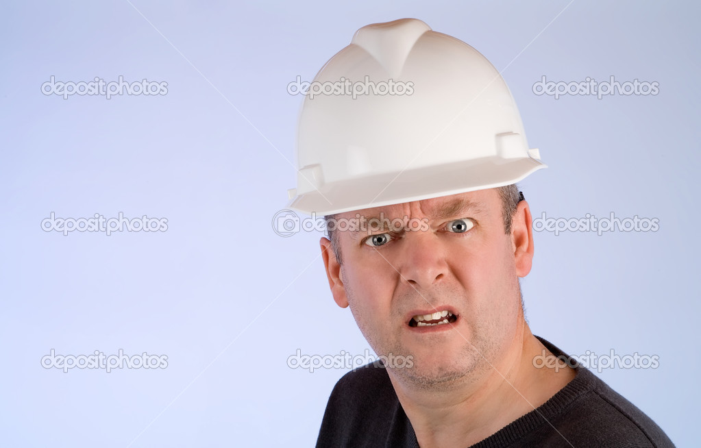 Unhappy Construction Worker a Construction Worker is Mad