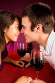 Couple Getting Closer While Having Wine — Stock Photo