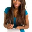African American Woman Taking Notes — Stock Photo