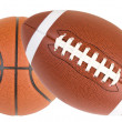 Football and Basketball Isolated - Stock Photo