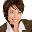 Beautiful Smiling Woman Wearing Headset — Stock Photo #2372199