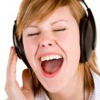 Listening to Music with Headphones — Stockfoto
