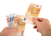 Paying Cash with Euro Currency — Stock Photo