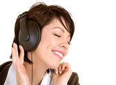 Lady Listening to Music with Headphones — Stock Photo