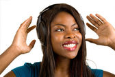 African American Lady Listening to Music — Stock Photo