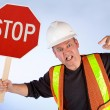 Construction Worker Asking to Stop — Stock Photo