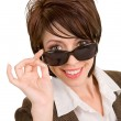 Lady Looking Over Sunglasses — Stock Photo #2387806