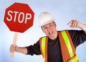 Byggnadsarbetare ber att stoppa — Stockfoto