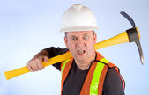 Grumpy Construction Worker — Stock Photo