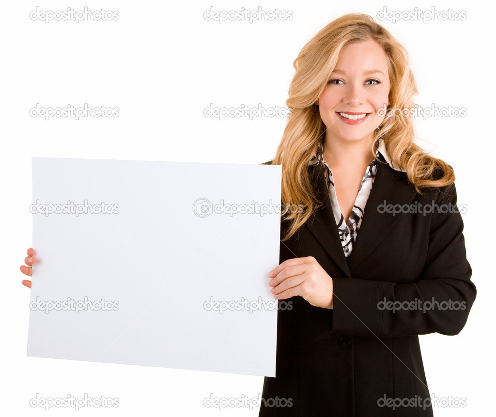 A beautiful young woman is holding a blank white sign. — Stock Photo #2388066