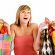 Foto de Stock  : Young Woman on a Shopping Spree