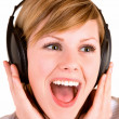 Listening to Music with Headphones — Foto Stock