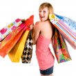 Young Woman on a Shopping Spree - Stockfoto