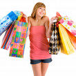Young Woman on a Shopping Spree - Stok fotoğraf