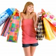Young Woman on a Shopping Spree — Photo