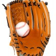 Baseball Glove and Ball Isolated - Stock Photo