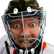gekke hockey keeper — Stockfoto